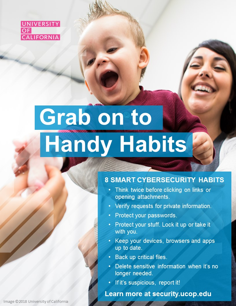 Poster thumbnail: 8 Smart Cybersecurity Habits version 1. Click for PDF.