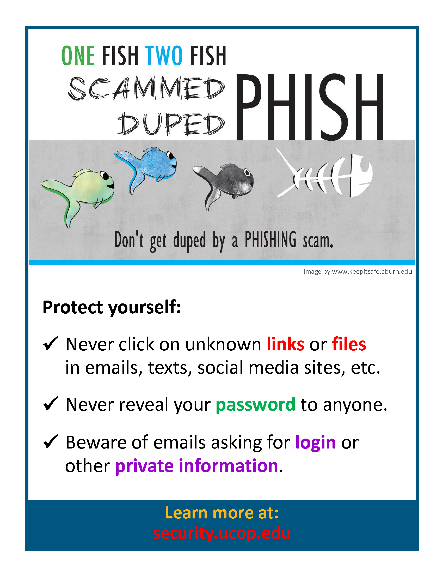 Poster: Don't get duped by a phishing scam. Protect yourself: Never click on unknown links or attachments. Never reveal your password. Beware of email asking for login or other private information.